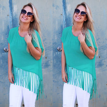 Summer Women's Fashion Green Round-neck Short Sleeve Tassels Chiffon Tops [7767261447]