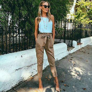 2017 New Solid color trousers OL chiffon high waist harem pants Women stringyselvedge summer female Fashion casual pants