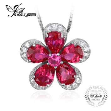 Jewelrypalace Flower 5ct Created Red Ruby 925 Sterling Silver Pendant Necklace 45cm Wedding Jewelry Gift For Engagement Lovers