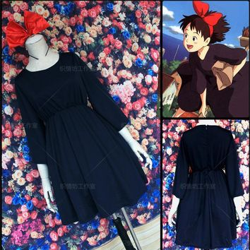 Kiki's Delivery Service Kiki Cosplay Dress Party Cos Costume Full Set Dress+Headwear+Bag