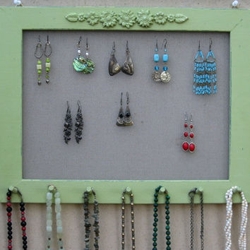 Widthwise Light Green Shabby Chic JEWELRY ORGANIZER