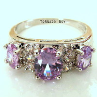 Sz8 Lab. Amethyst Tanzanite & White Topaz 18KT White Gold Plated Ring from TORNADO'S TREASURES