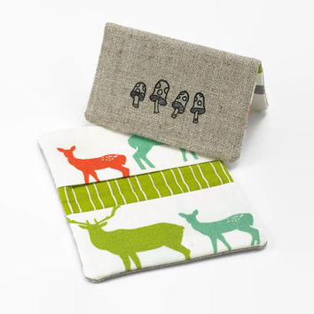 Business Card Holder, Credit Card Case, Fabric Bifold Wallet in Organic Woodland Deer