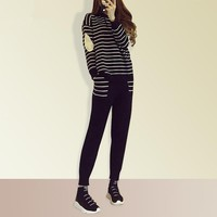 """Alexander McQueen"" Women Casual Fashion Knit Stripe Hooded Long Sleeve Sweater Set Two-Piece Sportswear"