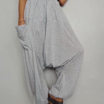 Soft Gray Drop crotch long trouser,Unisex harem Baggy pants, unique cotton blend (Drop pants-12).