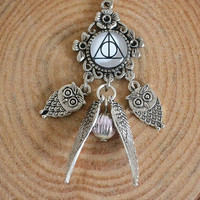 Harry Potter necklace,The Dethly Hallows image,with Owls and golden snitch with sided wings pendants necklace (N13)