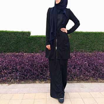 Jumpsuit with Attached Skirt – Black