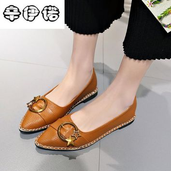 18 new spring real shot Korean pointed toe shallow mouth comfortable flat shoes simple metal decoration ballet shoes 35-40