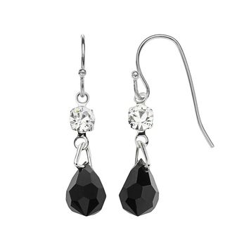 Franco Gia Bead Drop Earrings (Black)