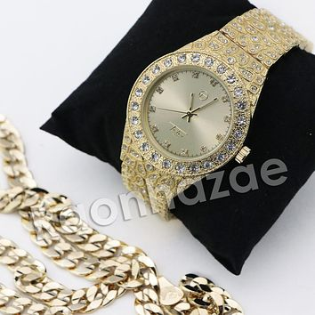 HIP HOP ICED OUT RAONHAZAE GOLD FINISHED LAB DIAMOND WATCH CUBAN CHAIN SET13