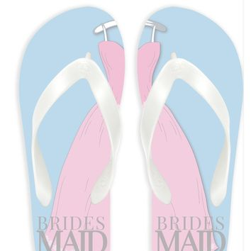 Bridesmaid With Blue Background Flip Flops