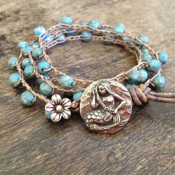 "Mermaid & Silver Flower Multi Wrap Crochet, Leather Bracelet, Anklet, Necklace ""Beach Chic"""