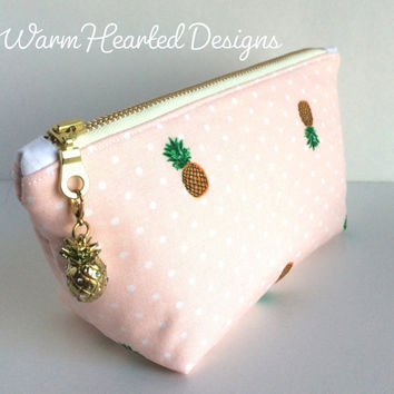 Pineapple Makeup Bag, Small Cosmetic Bag, Small Zipper Pouch, Pineapple Purse Pouch, Pink Makeup Bag