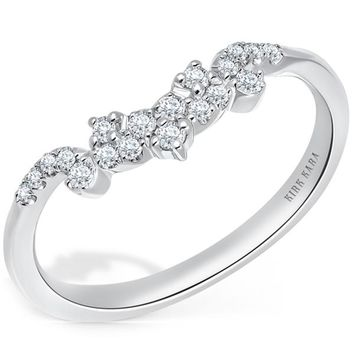 "Kirk Kara ""Angelique"" Petite Scroll Curved Diamond Wedding Band"