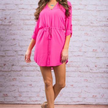 Golden Era Dress, Neon Pink