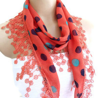 cotton scarf, Necklace scarves, Traditional Turkish-style, Headband, scarf, Coral red, fashion 2013