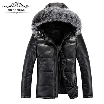 2017 New Winter Thick Warm Solid Men Withe Duck Down Coat High Quality PU Leather Jacket Parka With Real Fox Fur Hood 13M0367