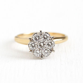 Diamond Cluster Ring - Vintage 14k Yellow & White Gold .56 CTW - Mid Century 1960s Two Tone Size 6 1/4 1950s Fine Appraisal Jewelry
