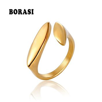BORASI Rings For Women Geometric Oval Ring Stainless Steel Gold Color Vintage Ring Engagement Wedding Brand New Fashion Jewelry