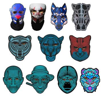 Halloween Full Face Voice Control Luminous Mask Trend DIY Colorful Flash Fun Carnival Costume Decoration Party Cosplay