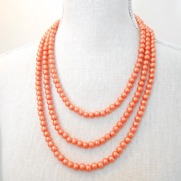 Magnetic clasps, 3 strands, pearl jewelry, orange beaded necklace, wedding accessories, choose your color, birthday party, daughter gift