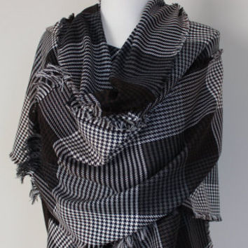 Checkered Wool Fabric Winter Blanket Scarf, Brown Black Ivory Grey Long Shawl Scarf, Winter Fashion, Women's Men's Scarves, Checkered Shawls