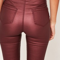 Missguided - Vice High Waisted Coated Skinny Jeans Burgundy