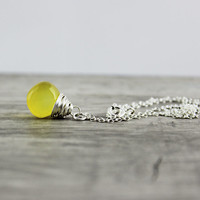Yellow Gemstone Necklace, Sterling Silver Necklace, Bright Yellow Necklace, Sunny Yellow Necklace, Wire Wrap Necklace, Pendant Necklace
