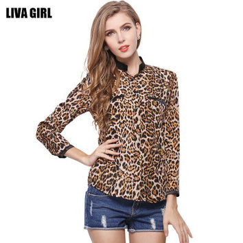 Women Fashion Long Sleeve Leopard Shirt Blouse Top for Casual Party Summer _ 3246