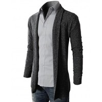 Doublju Men's Shawl Collar Cardigan With No Button (KMOCAL011)