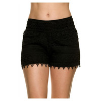 Lace Crochet Shorts, Black