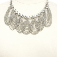 Draped Chain & Rhinestone Bib Necklace by Charlotte Russe - Silver