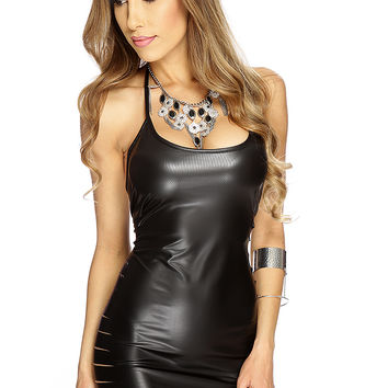 Black Faux Leather Metallic Racer Accent Club Wear Dress