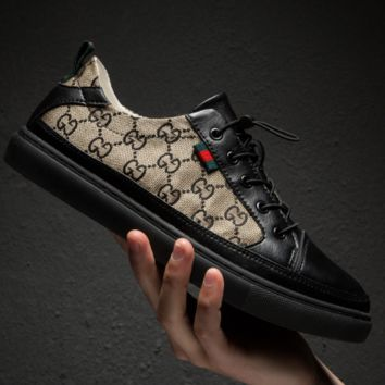 Black GUCCI Embroidered Canvas Shoes