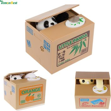 Cute Thief Piggy Bank (Panda, Yellow/White Cat)