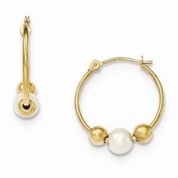 14k Yellow Gold Polished Hoop with Freshwater Cultured Pearl Earring