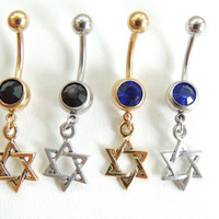 Star of David Navel Ring You Choose Color, Star Belly Button Ring, Belly Jewelry, Body Piercings, Gift Idea, Summer Jewelry. 208