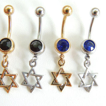Star of David Navel Ring You Choose Color, Star Belly Button Ring, Belly Jewelry, Body Piercings, Gift Idea, Summer Jewelry. 230