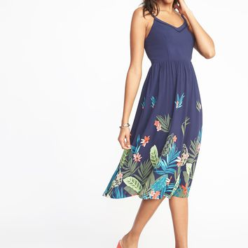 Fit & Flare Cami Midi Dress for Women|old-navy