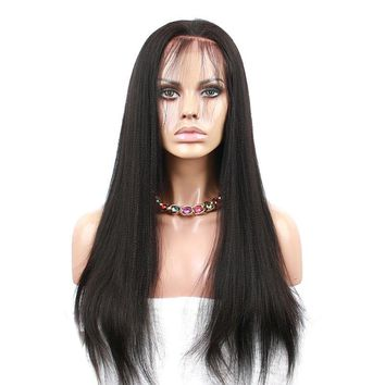 Yaki Straight Lace Front Human Hair Wig 130% Density Pre Plucked Brazilian Remy