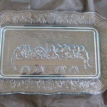 1970s Indiana Glass Lord's Supper Tray Very Good Light Blue