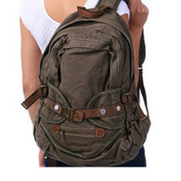 vintage school canvas backpack high-quality mixed fabric