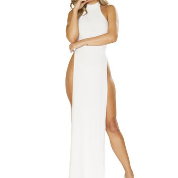 Roma 3656 Maxi Length Halter Neck Dress with High Slits