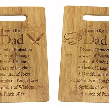 Recipe for a Dad Cutting Board Set of 2 - Cute Funny Laser Engraved Bamboo Cutting Board - Wedding, Housewarming, Anniversary, Birthday, Father's Day