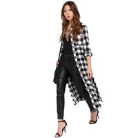Punk style Long Plaid Maxi Coats