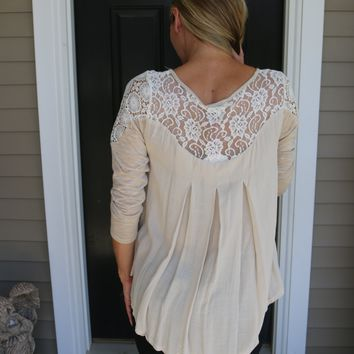 Tan Umgee Top with Cold Shoulder Lace Detail