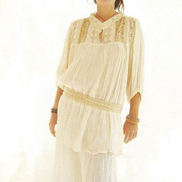 Old gold bohemian hand embroidered crochet lace Mexican blouse
