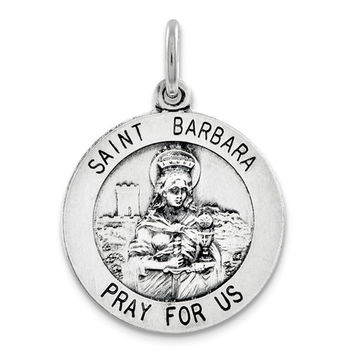 Silver Antiqued Religious St. Barbara Medal