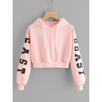 East Coast - Slogan / Typography Long Sleeve Crop