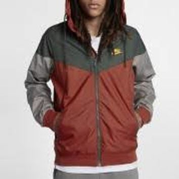 KUYOU Nike Sportswear Men's Windrunner Jacket (Dragon Red/Vintage Green/Laser Orange)